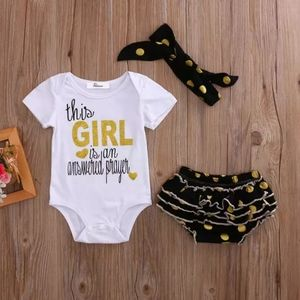 3 PCS newborn baby girl clothes romper shorts dot
